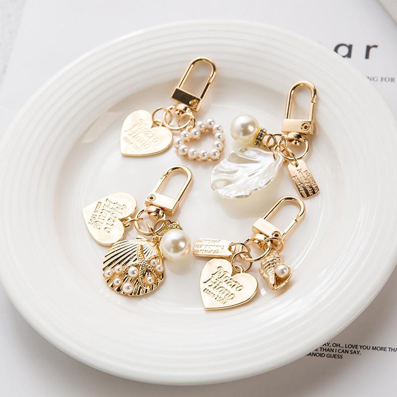 Cute Shell Key-chain Creative Ins Metal Jewelry Pearl Pendant Accessories Women Keychain Car Key Cha