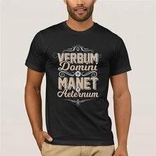 Camiseta para hombre a la moda, de la marca Latin VERBUM DOMINI MANET IN AETERNUM Lutheran, camiseta divertida de algodón 100% para hombre