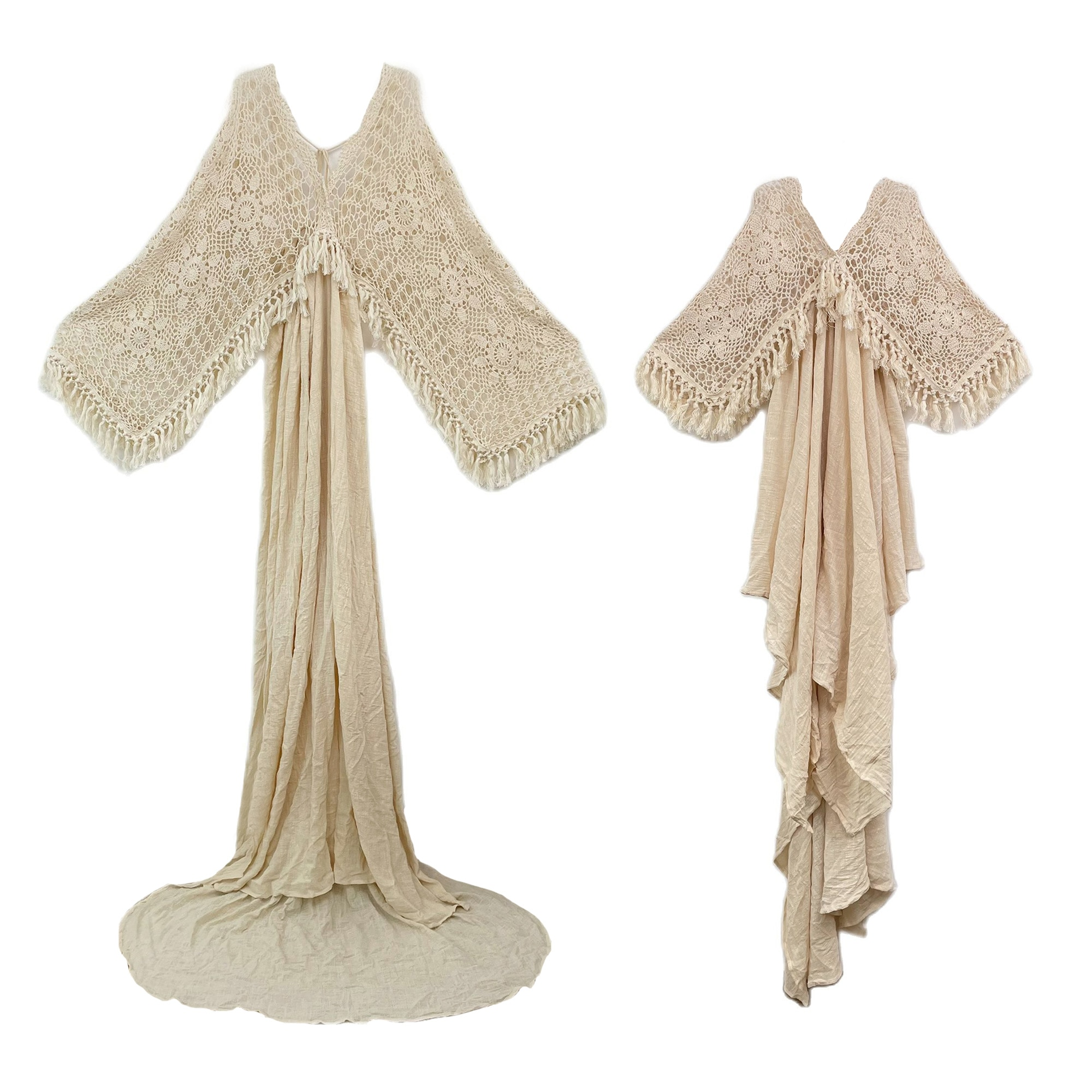 Photo Shoot Set Vintage Boho Cotton Mom and Daughter Robe Long Dresses Evening Party Costume for Women Photography Accessories