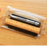 perforated frosted transparent zipper bag stationery storage bag plastic packaging bag sealed pvc pencil case