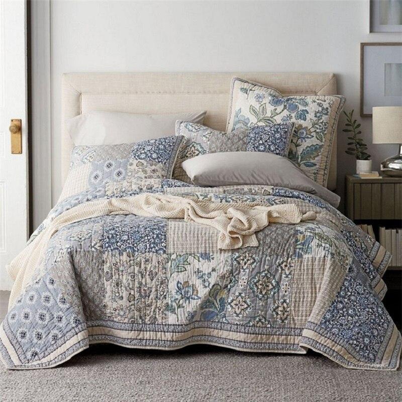 Chausb, colcha de retazos hecha a mano, conjunto de 3 uds., colcha Vintage de algodón lavada, colchas florales, manta King Size, conjuntos de cobertor