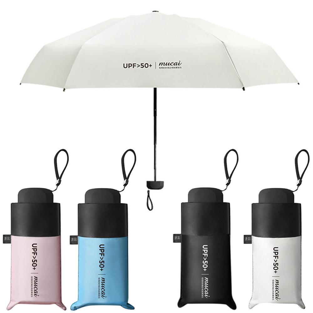 Mini Compact Sun&Rain Travel Umbrella with Flat Handle - 6.7 inch Anti-UV Lightweight Portable Outdoor Sun Umbrella with UPF>50+
