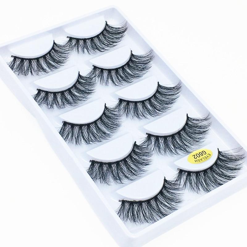 Morwalendi 5 pares 3D de visón pestañas postizas finas pestañas naturales dramático ojo pestañas maquillaje belleza herramientas de extensión de