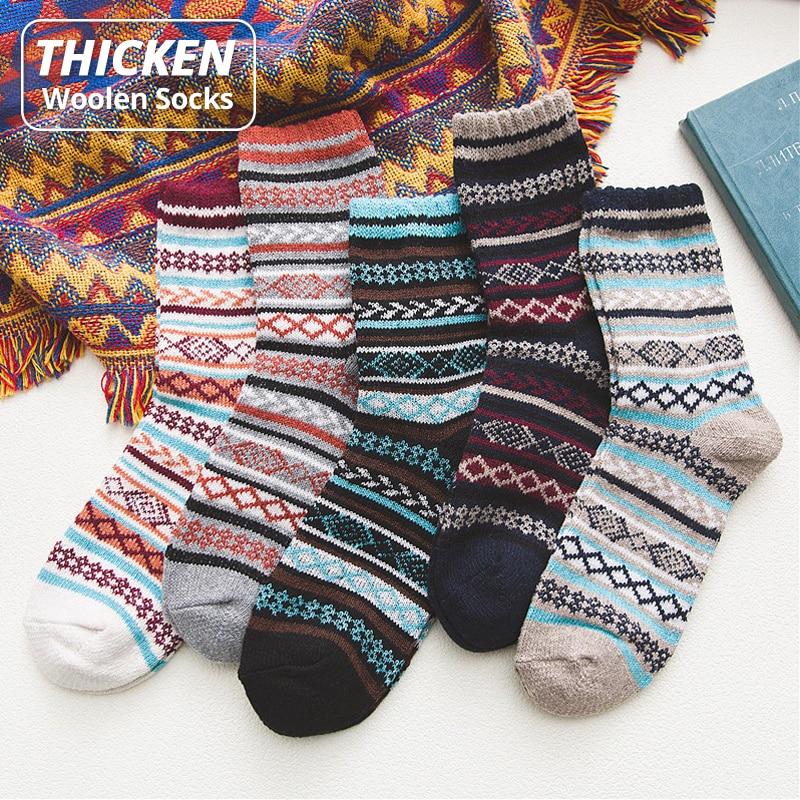 HSS брендовые модные зимние мужские носки, теплые толстые шерстяные носки, полосатые утепленные Повседневные носки для мужчин, размеры США (7,...