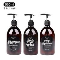 Ensemble 3 en 1 distributeur de savon de salle de bain 500ml bouteille de shampooing lavage du corps apres-shampoing bouteille de rangement en plastique pompe a pression sous-bouteille distributeur de savon liquide