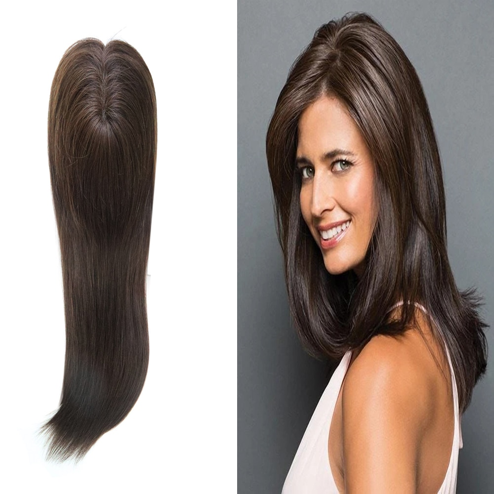 Hot Sale Brown Mono top Wig Topper for Women Straight Human Hair Women Toupee Clip in Toppers 120% Density Hair