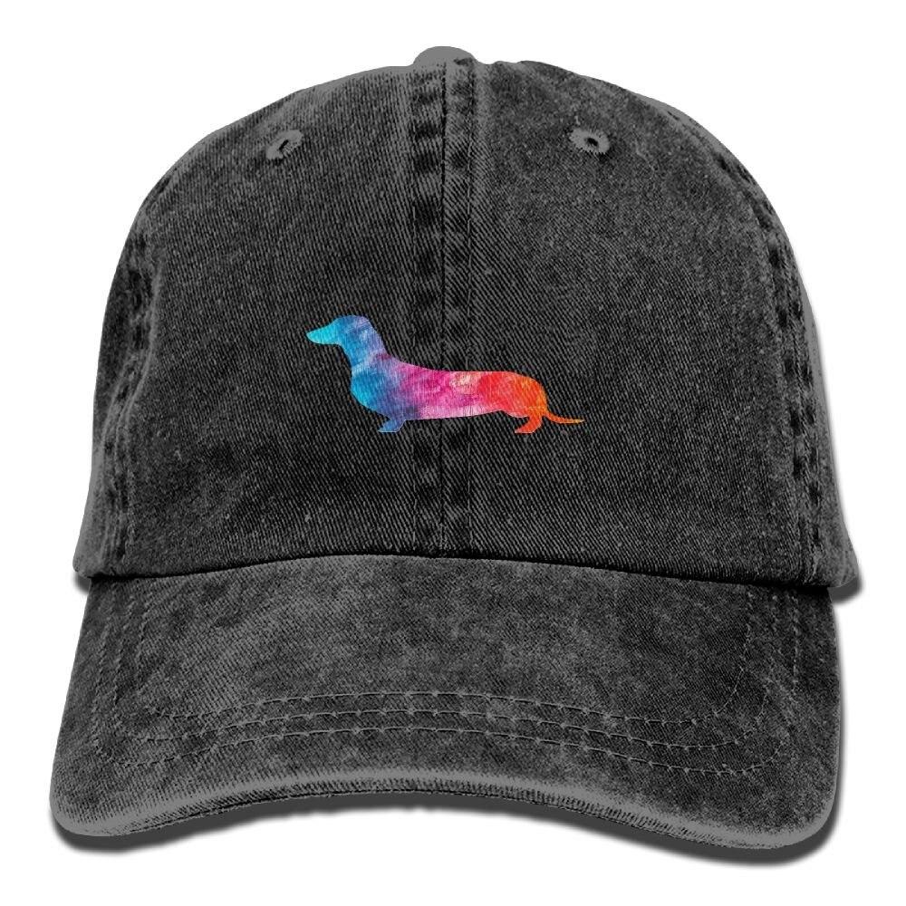 Daschund watercolor weiner cão unisex lavado sarja algodão boné de beisebol vintage chapéu ajustável