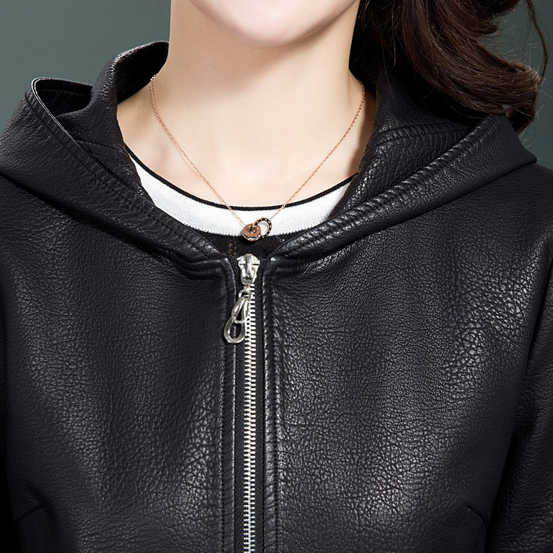 Women Hooded Faux Leather Jacket New Ladies Washed Leather Trench Coats Female Loose Zipper Outerwear Shearling Jacket Plus SIze enlarge