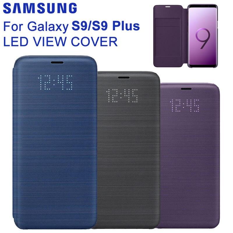 الأصلي سامسونج LED عرض غطاء ذكي غطاء الهاتف الذكي لسامسونج غالاكسي S9 G9600 وظيفة النوم بطاقة جيب