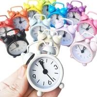 new mini alarm clock electronic round number double bell desk table digital quartz clock home decoration retro portable