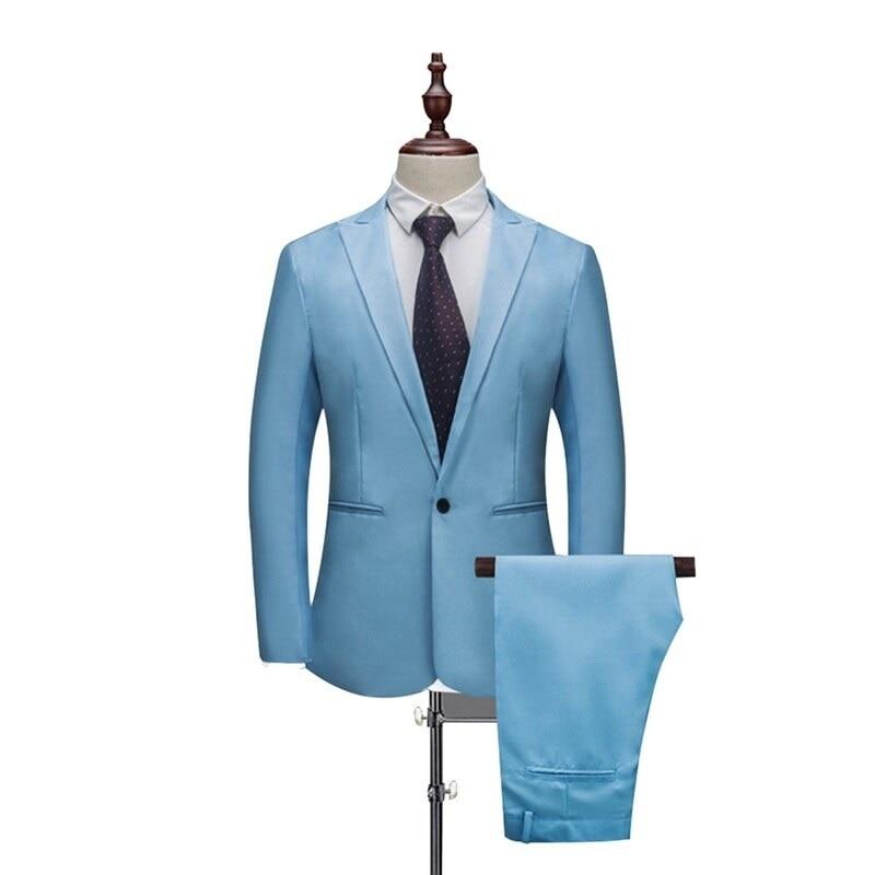 CAIDA New Male Wedding Prom Suit Green Slim Fit Tuxedo Men Formal Business Work Wear Suits 2Pcs Set (Jacket+Pants)