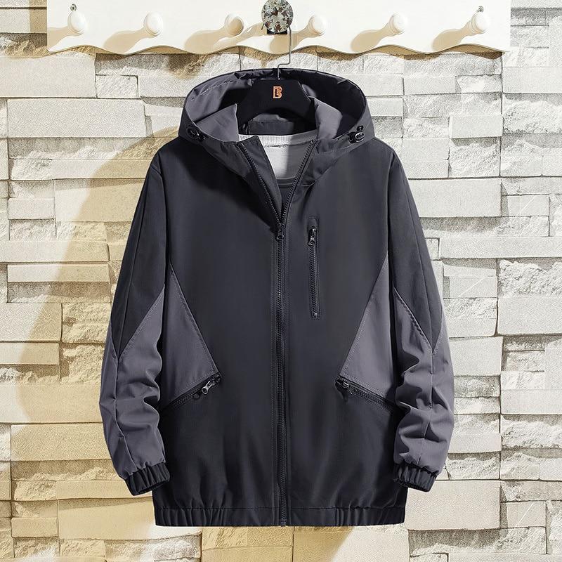 Мужская куртка с капюшоном, черная куртка с капюшоном в Корейском стиле, красивая универсальная одежда, осень 2021