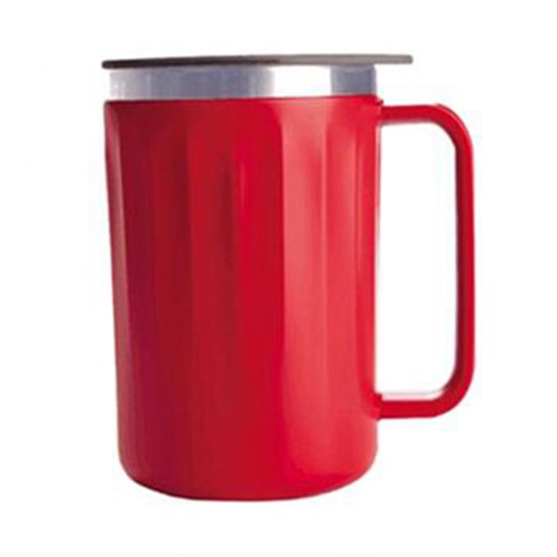 Gran oferta de termo de café de 400Ml con mango Taza De Viaje De Acero Inoxidable, termo portátil de vacío, taza térmica con tapa, vaso aislado