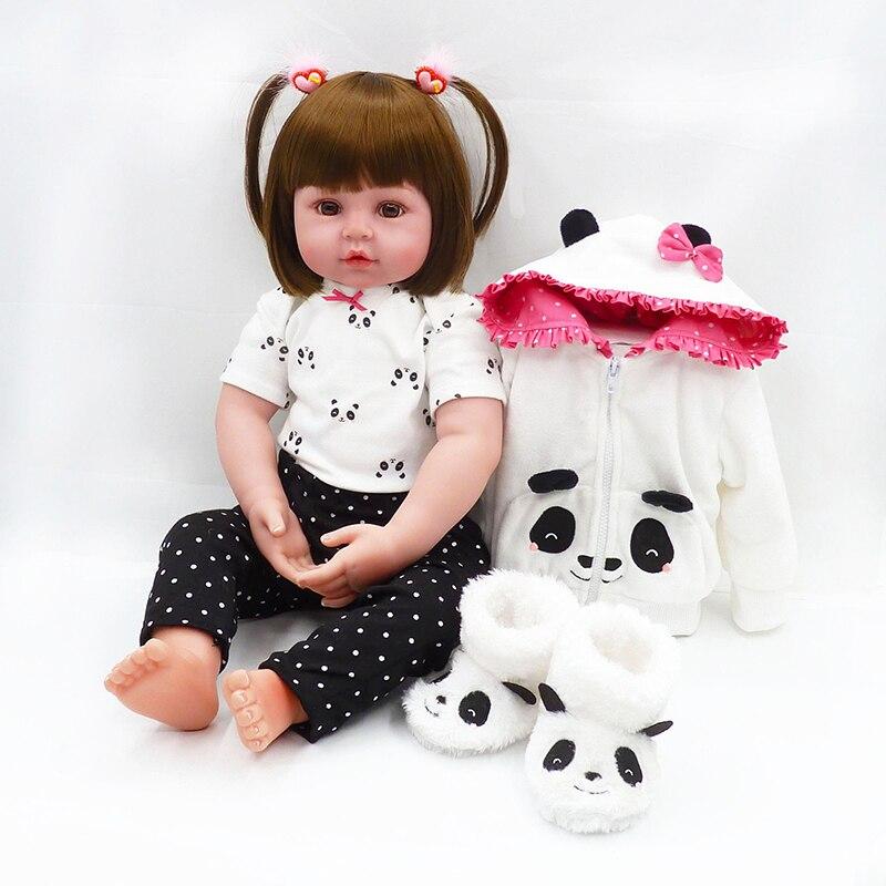 Muñeca de juguete Reborn De 48CM para niños, bonita Panda de silicona suave, cuerpo de tela, pelo corto para dormir, muñeca para bebés, niños pequeños, juego de simulación