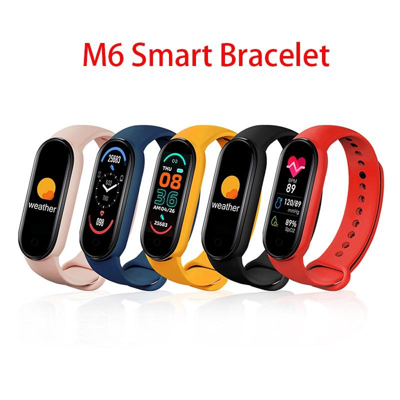 1Pcs/lot 2021 New M6 Smart Bracelet Watch Fitness Tracker Sport Smartband Blood Pressure Monitor Wristband Men Women Smart Band