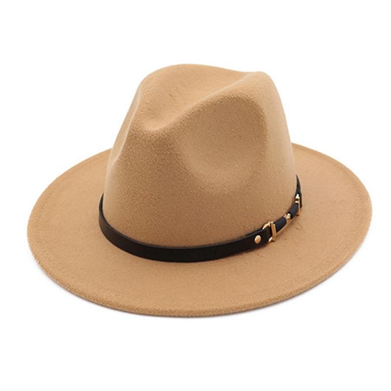 Зимняя модная шерстяная фетровая шляпа для женщин, кепка, черные шапки для мужчин, простые широкие поля, осенние женские шапки, модная кепка,...