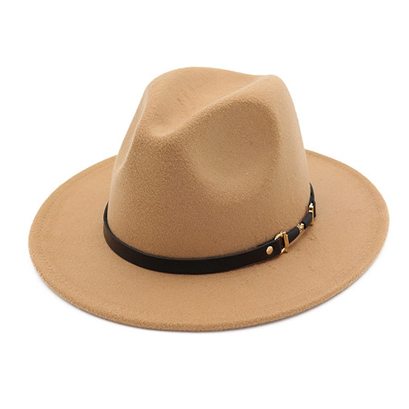 Winter Fashion Wool Fedora Hat For Women Chapeau Black Hats For Men simple Wide Brim Autumn Female c