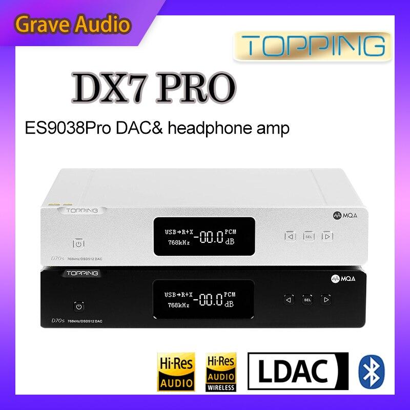 TOPPING DX7 Pro ES9038Pro DAC & سماعة أمبير بلوتوث 5.0 32BIT/768kHz DSD1024 DX7PRO اللاسلكية فك مضخم ضوت سماعات الأذن