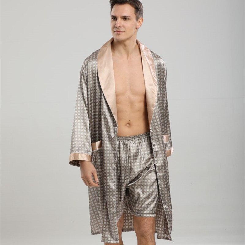 Мужчины пижамы мужские халаты шелк длинный рукав ночная рубашка мужские халат кимоно дом ванна халат с принтом геометрический халаты мужские сексуальные халат