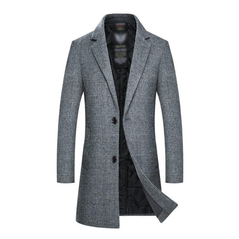 Мужское шерстяное пальто, новинка зимы 2020, стильное модное повседневное приталенное плотное теплое длинное пальто, мужское Брендовое клетч...