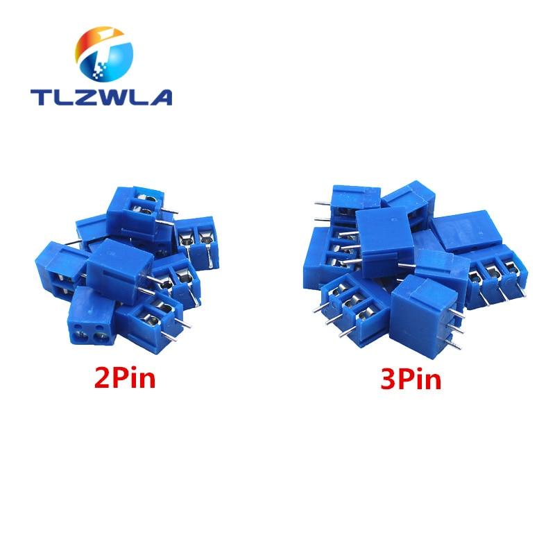 100 unids/lote KF300 2Pin 3pin mm, paso de 5mm PCB bloque de terminales de tornillo conectores 250V 16A 14-22AWG
