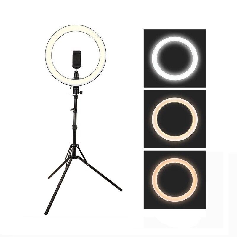 Regulable 10 pulgadas 26cm USB LED Selfie anillo lámpara Cámara teléfono Video maquillaje luz con 160cm trípode para estudio en vivo Youtube