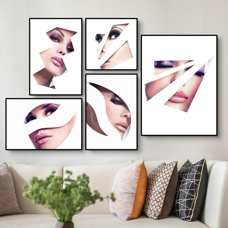 Bela menina arte cartaz da lona pintura moda maquiagem imagem da parede decoração da parede salão de beleza arte pintura da lona hd2916