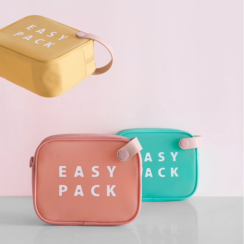 Bolsa de almacenamiento portátil de colores bonitos, organizador de maquillaje, bolsa con cierre impermeable para baño, bolsas ecológicas para niñas, estuche de aceite esencial