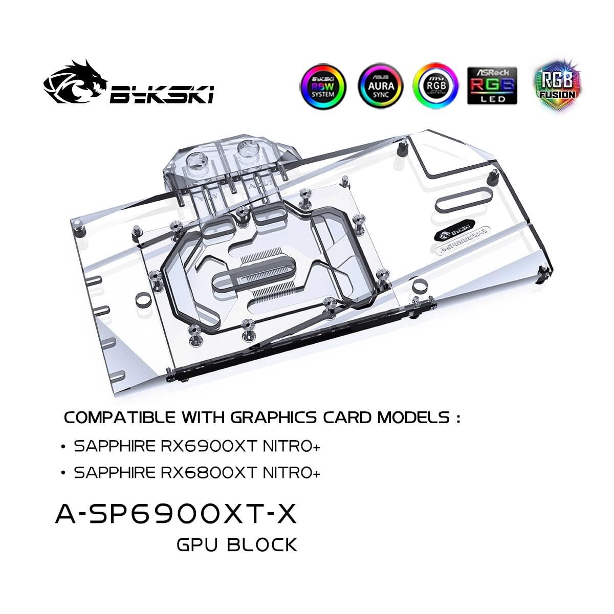 Bykski 6900XT 6800XT For Radeon RX 6800/6900 XT Nitro +, وحدة معالجة الرسومات لتبريد المياه كتلة, AMD بطاقة جرافيكس مبرد سائل, A-SP6900XT-X