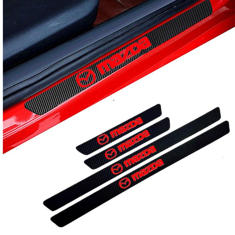 Auto-Styling 4PCS Carbon Fiber Tür Sill Carbon Faser Aufkleber Decals Für Mazda 2 Mazda 3 MS Mazda 6 CX-5 CX3 CX5 Artzma