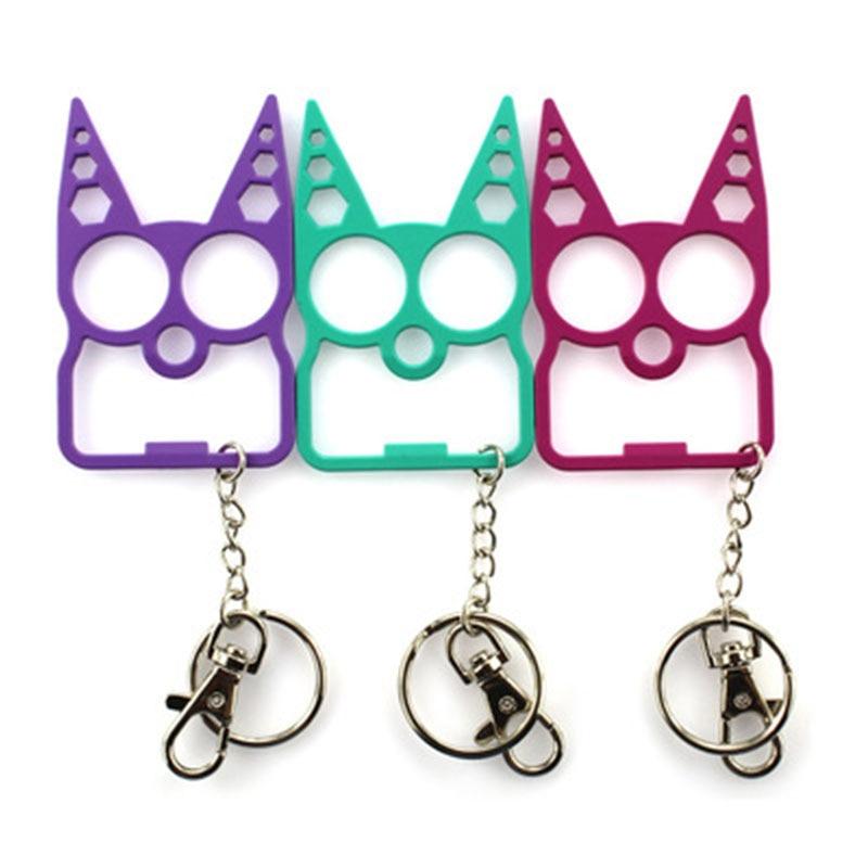 New Zinc Alloy Kartoon Cat Face Shape Finger Tiger Fottle Opener Screwdriver Key Chain  Key Ring Wallet  Decoration Cat Ears