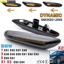 2x marqueur latéral dynamique coulant lumières voiture style Led indicateur latéral clignotant lumière fumée lentille pour BMW E46 E90 E83 E X1 X3