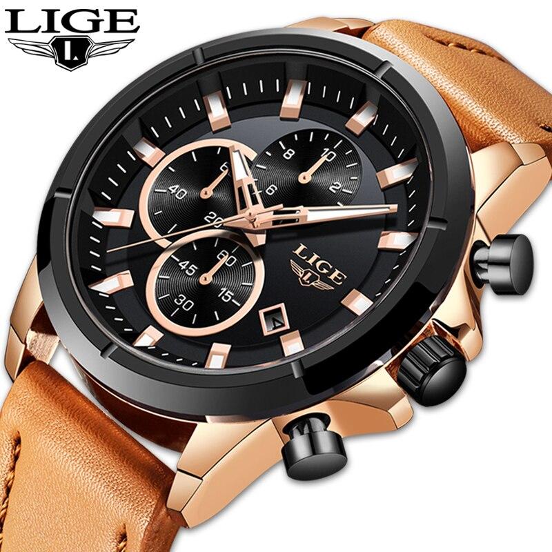 Relojes LIGE para hombre, de lujo, de marca superior, reloj deportivo a la moda para hombre, reloj de pulsera informal de cuero de cuarzo resistente al agua, reloj Masculino