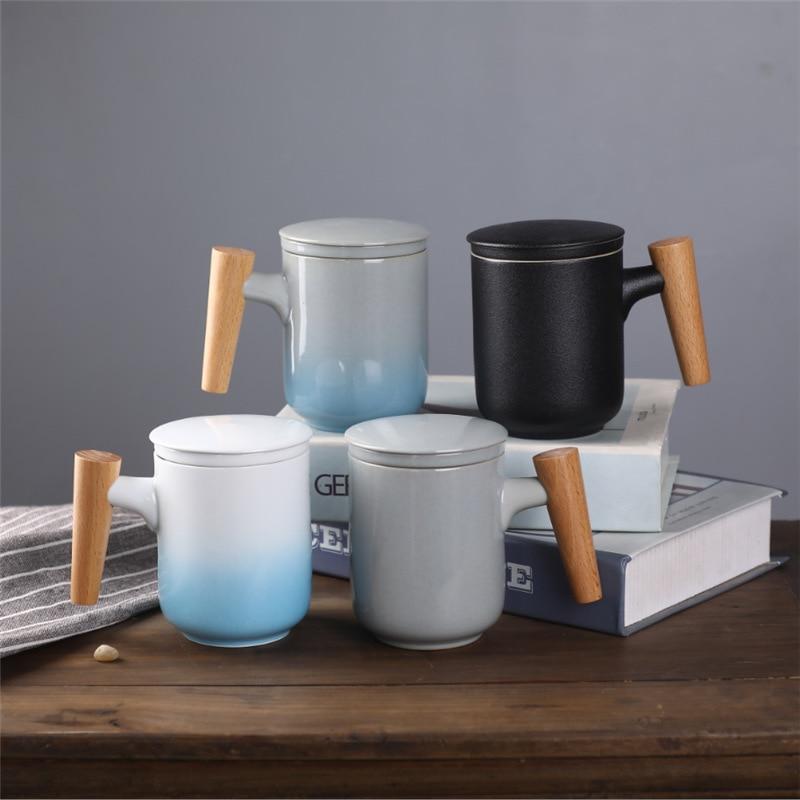 Tazas de leche de cerámica nórdica con mango de madera con tapa taza filtro gradiente taza redonda de té de vidrio de oficina regalos para amigos Vasos Para el hogar