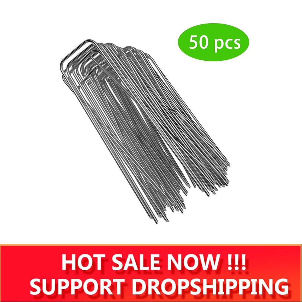 50 шт./лот u-образный манометр оцинкованная сталь садовые колышки штапельные крепежные колышки для закрепления сорняков ткань Ландшафтная ткань сетка