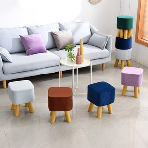Nordic Creative Solid Wood Low Stool Living Room Changing Shoes Round Stool Velvet Goose Cloth Cover Removable Washable Strong
