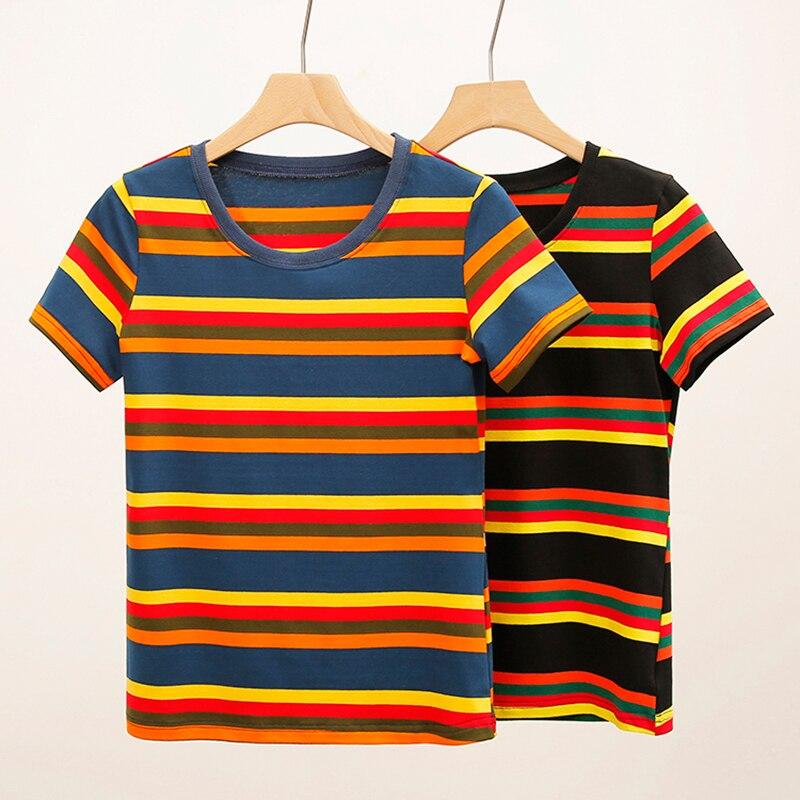plus size drop shoulder striped tunic t shirt Summer O-Neck Plus Size Striped T Shirt Women Clothes 2021 Tee Shirt Femme T-Shirt Woman Tshirt Mujer Camisetas Koszulki Damskie