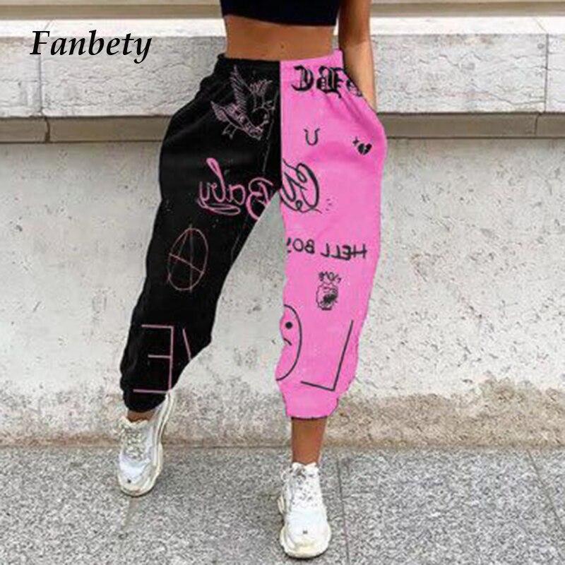Feminino elegante padrão crânio impressão retalhos calças 2020 outono cintura elástica bolso macacão senhoras casual streetwear sweatpants