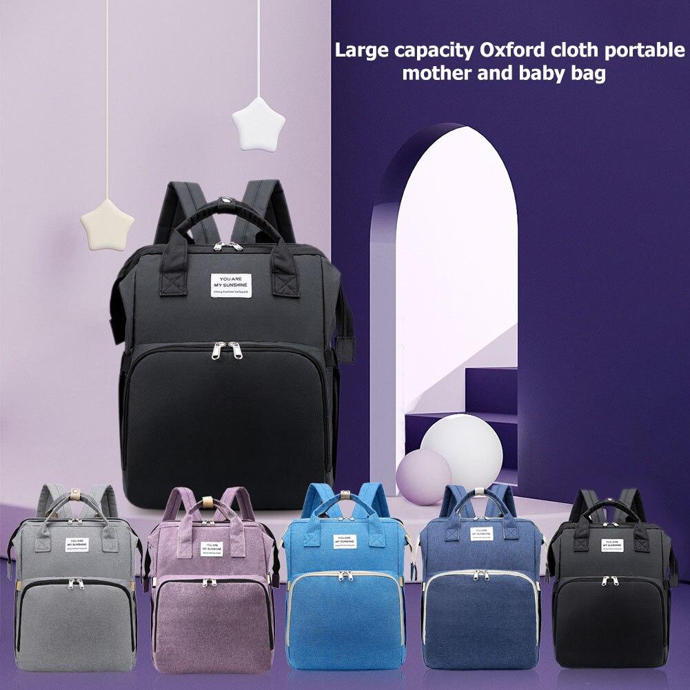 Portable Crib Nappy Bag Baby Care Changing Diaper Bag Stylish Folding Crib Nappy Bags Mummy Maternity Nappy Bag enlarge