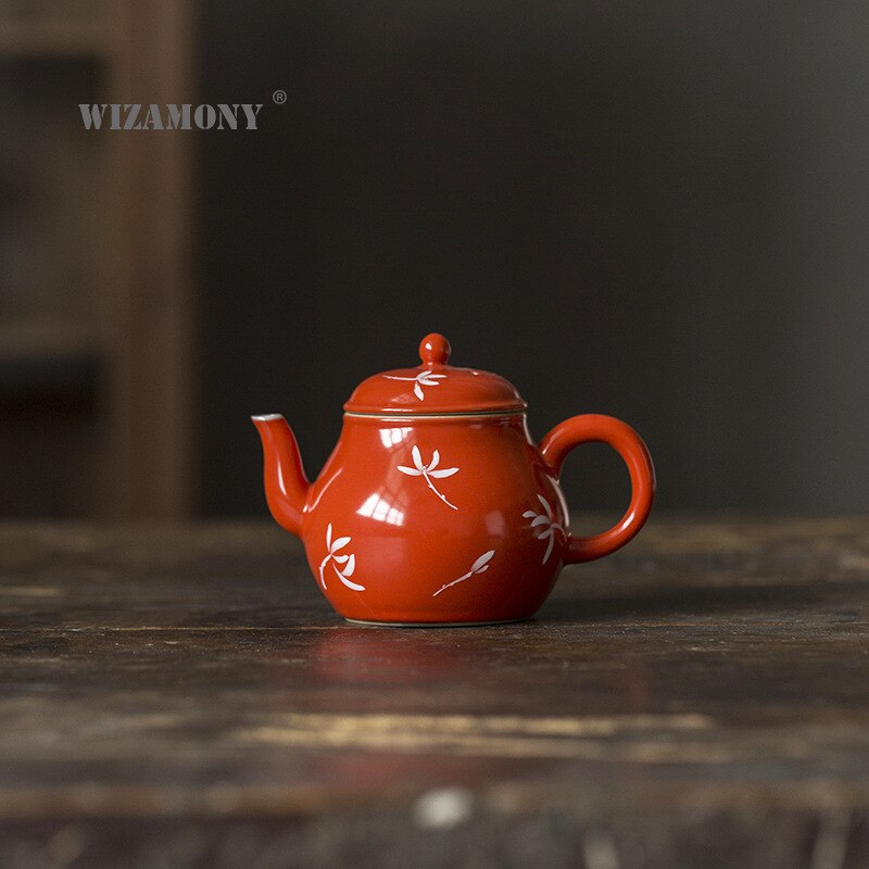 WIZAMONY Dehua إبريق شاي من السيراميك الرجعية الأحمر إبريق الشاي المنزلية غلاية إناء ساخن وبارد الكونغفو طقم شاي ماكينة إعداد الشاي بالجملة