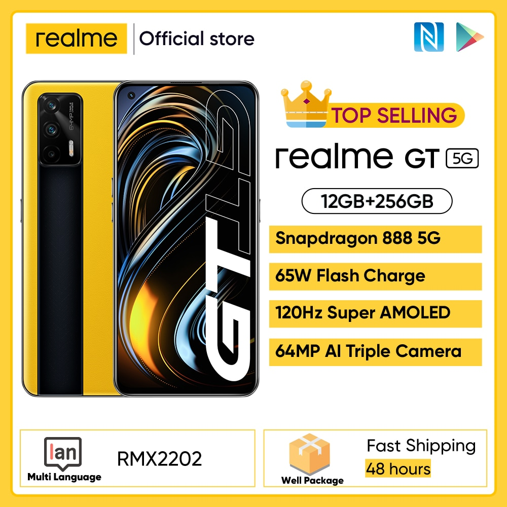 Realme GT устройство, док-станция Qualcomm Snapdragon 888 5G процессор 65 Вт SuperDart заряда 120Hz обновленный 6,43 дюйм FHD + безрамочный экран AMOLED 8 ГБ 128 NFC 12 Гб 256