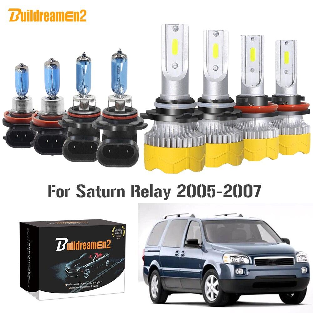 Buildreamen2 4 piezas coche Faro de haz alto + bajo LED halógena lámpara de la linterna 9005 H11 12V para Saturno relé de 2005 de 2006 a 2007
