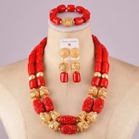 beautiful red nigerian coral set african coral beads jewelry set c21 27 02