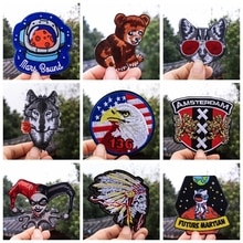 1PCS Punk The flower Wolf patches of eagle animals,astronaut,clown,Bear cub, Cat in sunglasses, appl