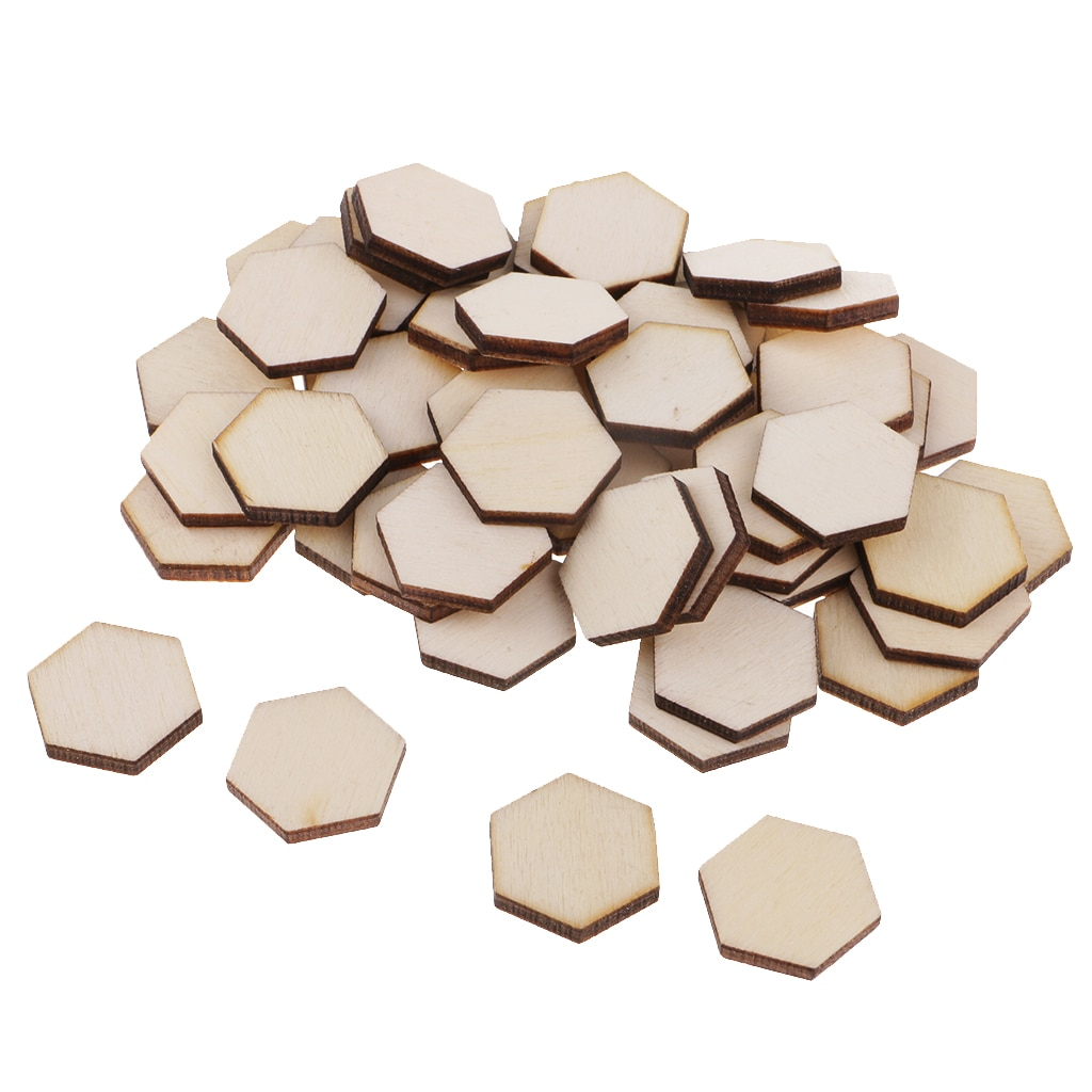 54Pcs Blank Houten Hexagon Vlakte Onvoltooide Ambachten Embellishments Scrapbook Diy