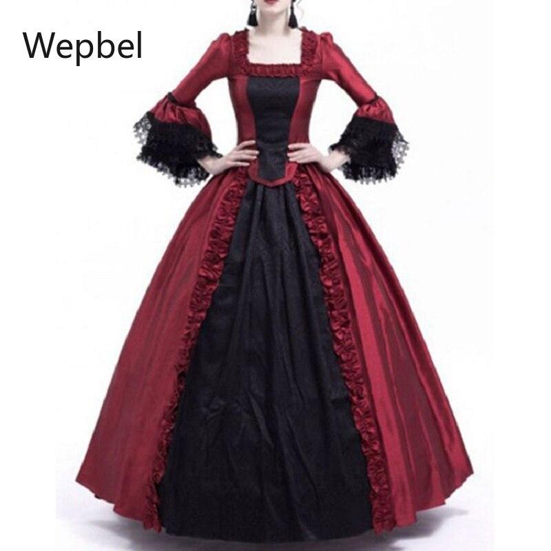 فستان نسائي من Wepbel مزين بالدانتيل للكريسماس بأكمام مضيئة فستان حفلات من القرون الوسطى بتصميم عتيق مقاس كبير وياقة مربعة وخصر مرتفع