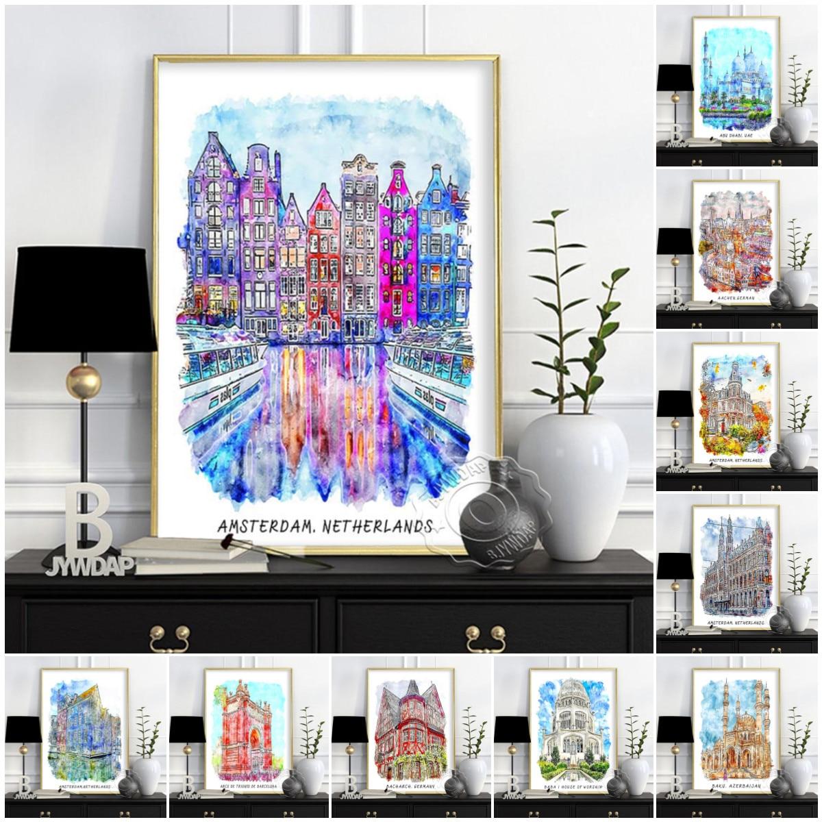 Póster de viaje de ciudades del mundo, cartel de paisaje de edificios...