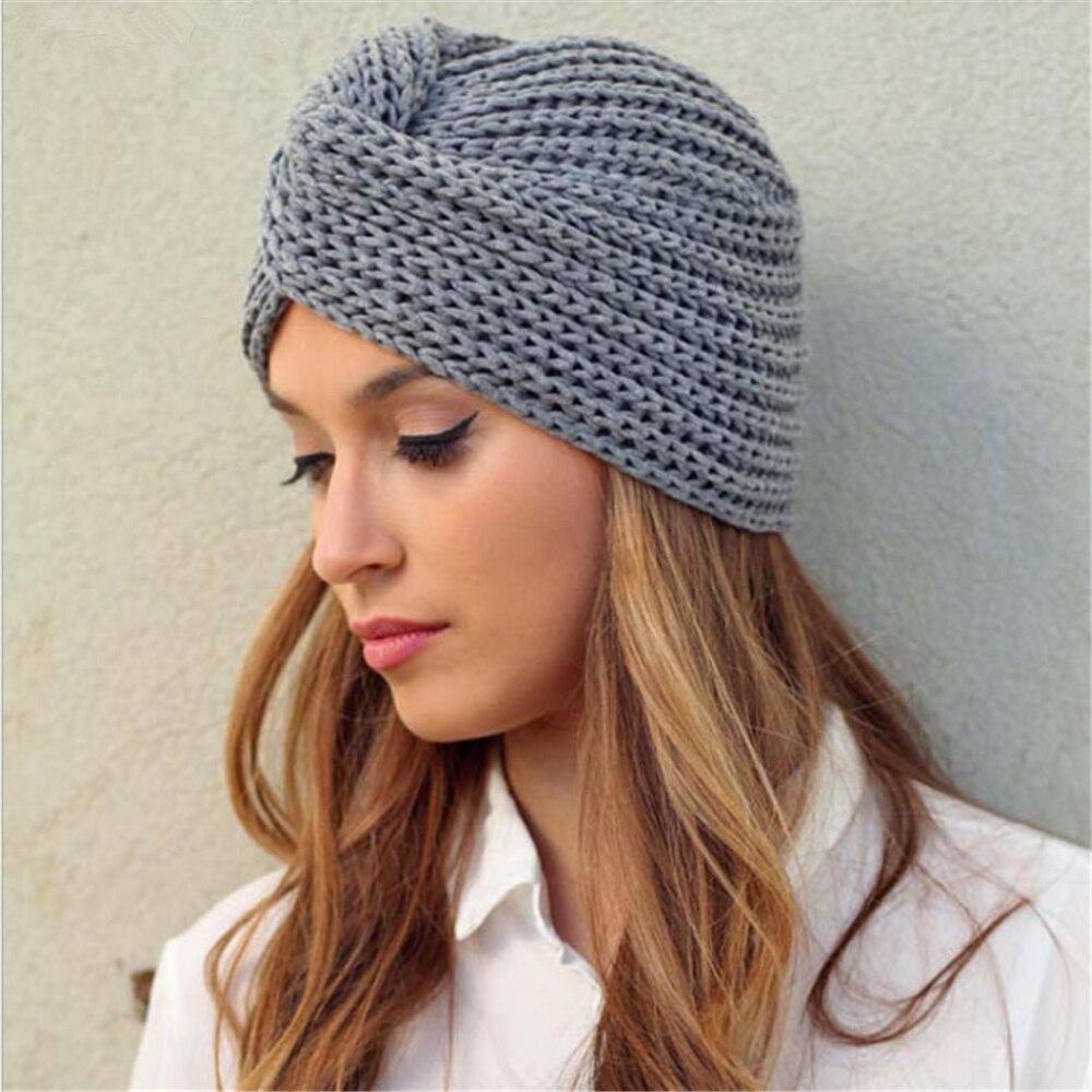 Sombreros de turbante bohemia de punto para mujer cashmere cross wrap head indio hat lana gorro tejido gorra de turbante listo para