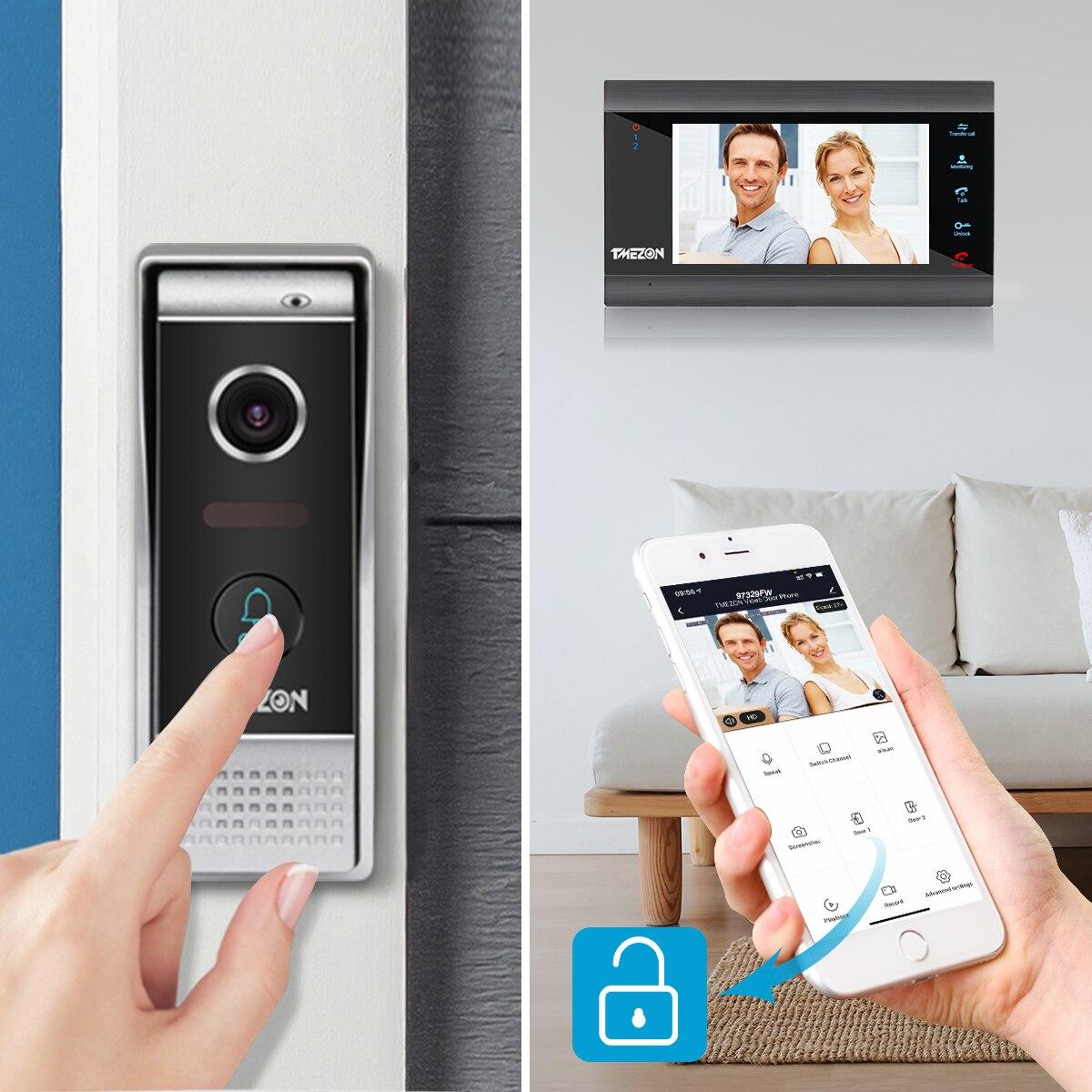 Home Intercom System Wireless WiFi Smart IP Video Doorbell 7 Inch with 1x1200TVL Wired Door Phone Camera enlarge