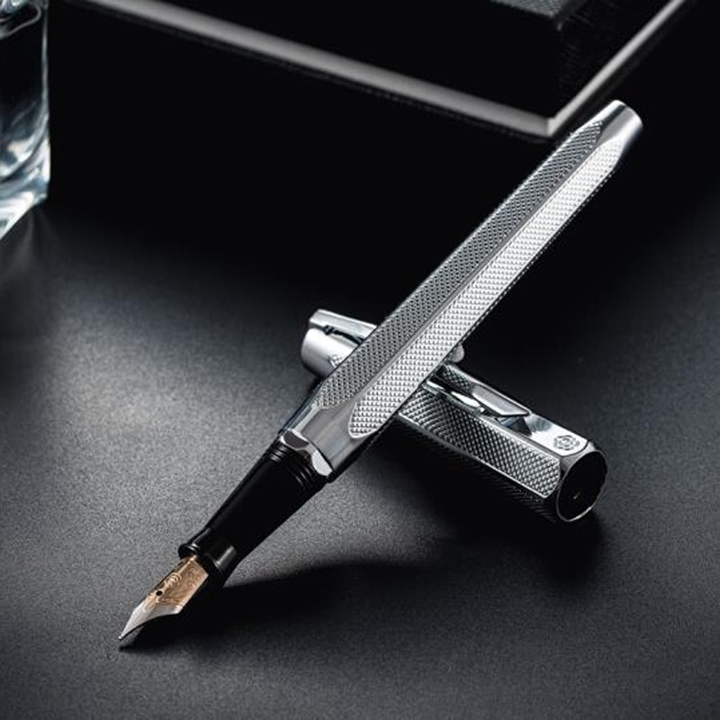 Hero 2191 14K Gold Nib Popular Collection Fountain Pen Silver Engraving Ripples Two-head M Nib Gift Pen For Office & Home W/Gift
